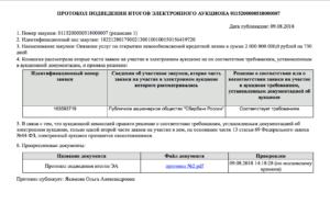 Протокол подведения итогов аукциона в электронной форме