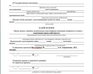 Заявление о выдаче водительских прав