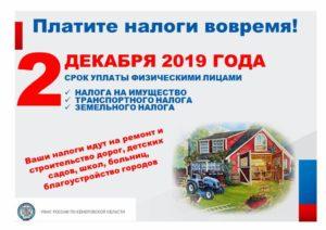 Какой срок уплаты транспортного налога в 2019 году для физических лиц