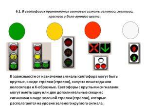 Сигналы светофора по ПДД