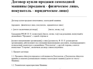 Договор купли продажи автомобиля между юридическими и физическими лицами