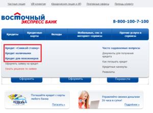 Получение автокредита в банке Восточный Экспресс