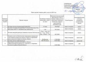 Образец плана закупок по Закону № 223-ФЗ