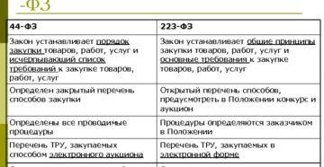 Основные отличия между 44-ФЗ и 223-ФЗ