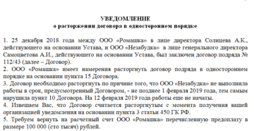 Дата надлежащего уведомления поставщика о расторжении контракта